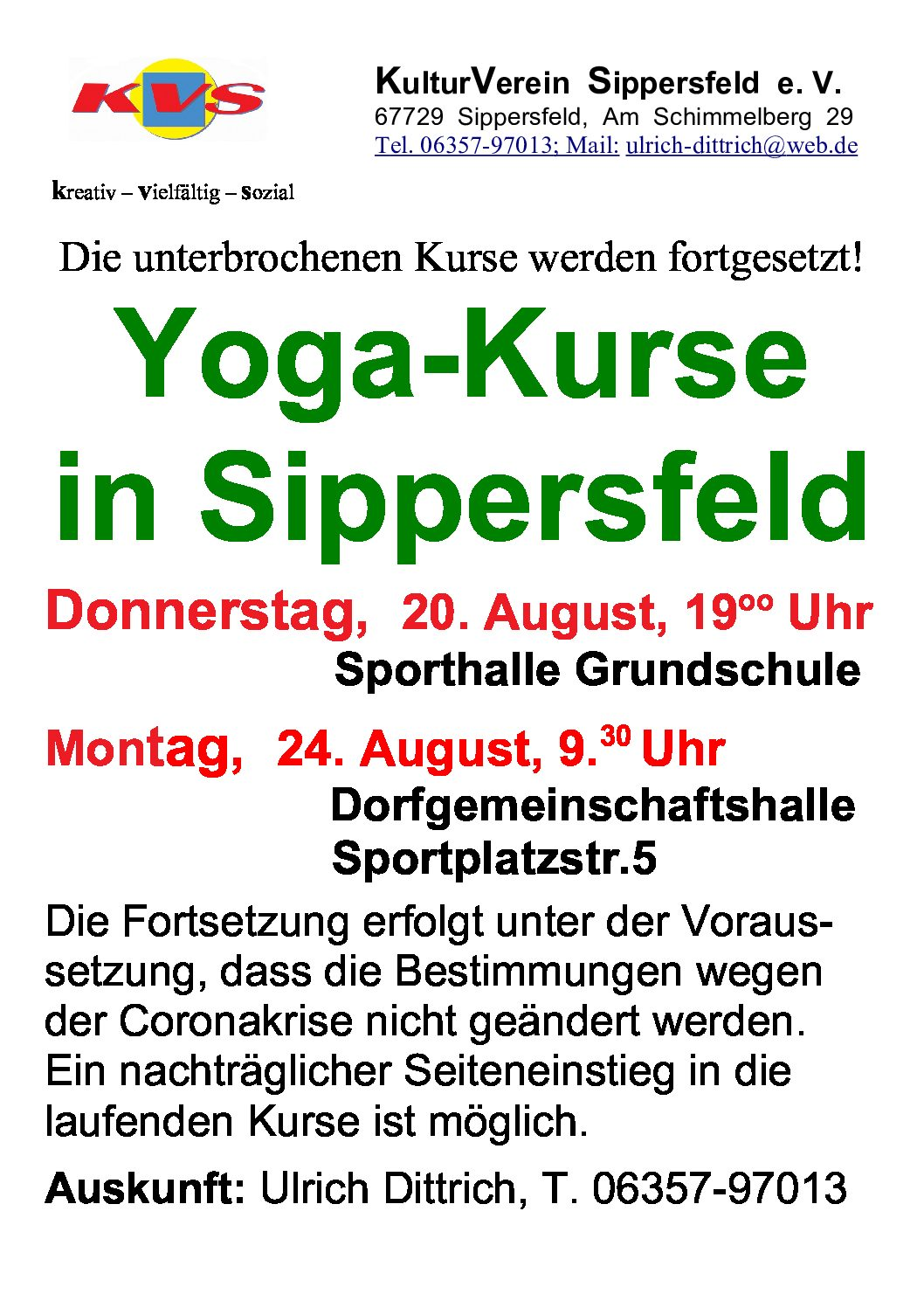 Yoga-Kurse in Sippersfeld