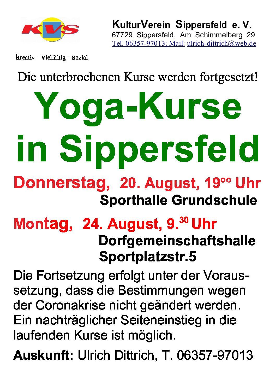 Yoga-Kurse in Sippersfeld